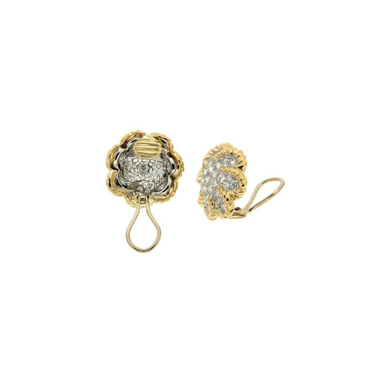 Dome pave diamond gold platinum twisted wire Earrings 2