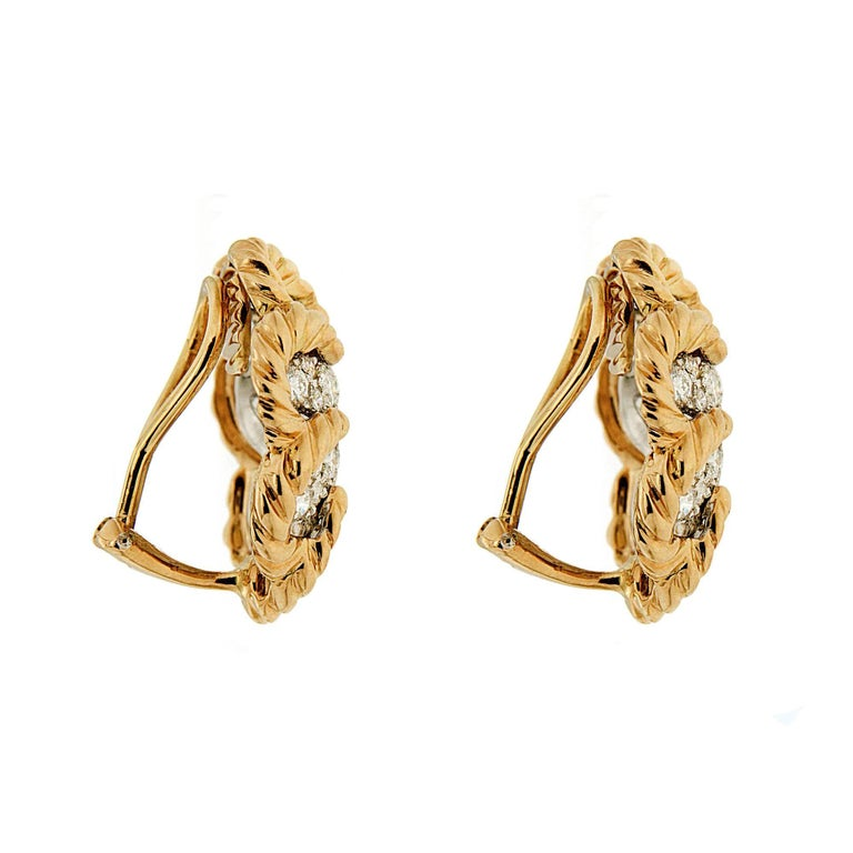 Dome Pave Diamond Gold Platinum Twisted Wire Earrings 3