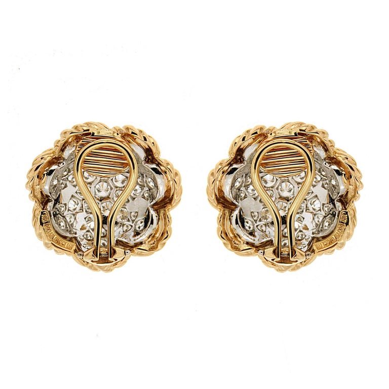 Dome Pave Diamond Gold Platinum Twisted Wire Earrings 4