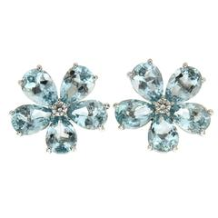 Pear Shape Aquamarine Cluster Earrings