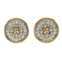 Pave Set Diamond Button Earrings