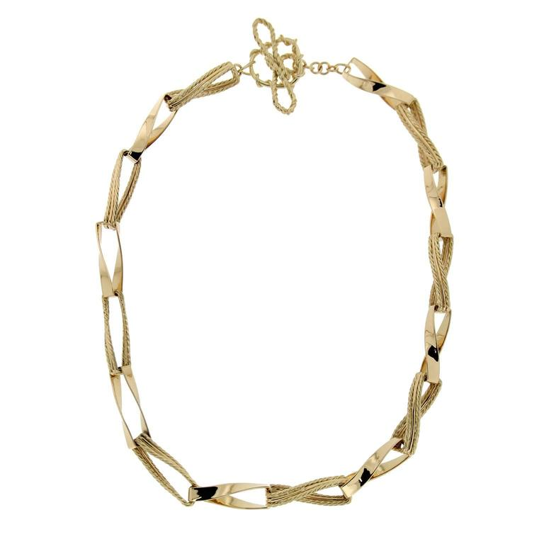 gold Ribbon link necklace For Sale