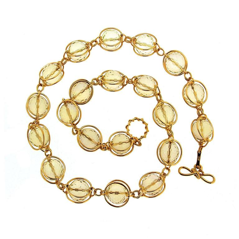 Doppio Smooth Lemon Quartz gold link necklace