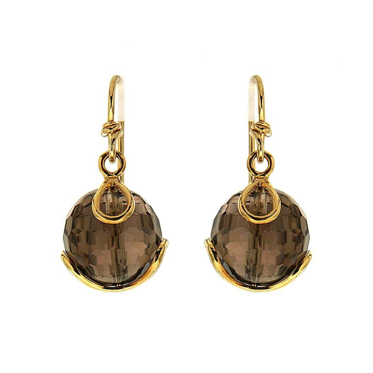 Carina Faceted Smokey Topaz Gold Ball French Wire Earrings