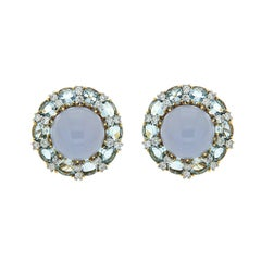 Colori Chalcedony Oval Aquamarine Diamond Gold Platinum Round Earrings