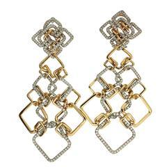 Pave Diamond Gold Interlocking Cushion Earrings