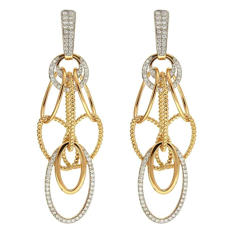 Cascading Oval Twisted and Plain Wire Diamond Gold Earrings