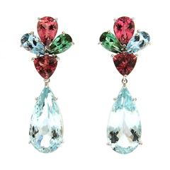 Aquamarine Pink Tourmaline Gold Earrings