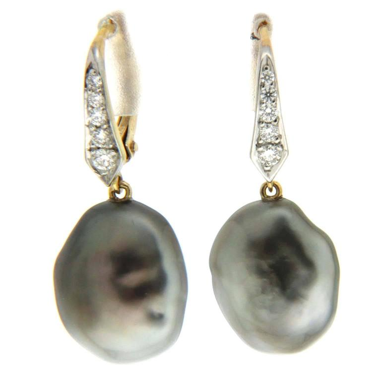 Tahitian Keshi Pearl Diamond Lever Back Drop Earrings 1