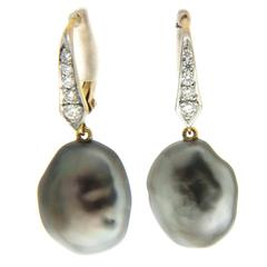 Tahitian Keshi Pearl Diamond Lever Back Drop Earrings