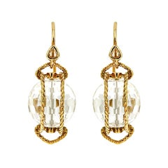 Doppio Gold Twisted Rope Crystal Ball Earrings