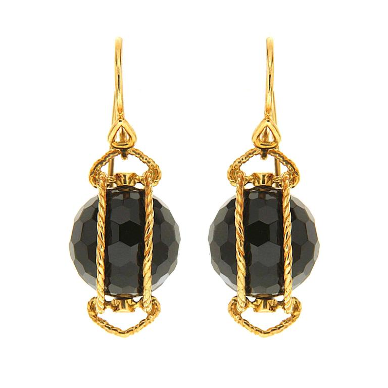 Doppio Black Onyx Gold Twisted Rope Earrings 2