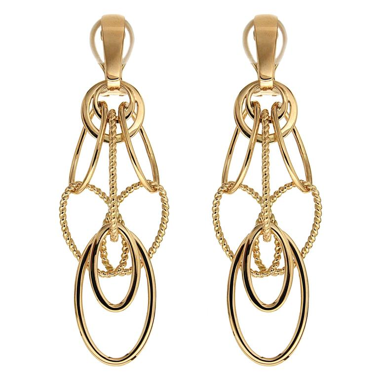 Valentin Magro Cascading Oval Twisted And Plain Wire Gold Earrings For