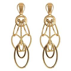 Cascading Oval Twisted and Plain Wire Gold Earrings