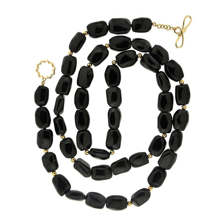 Black Onyx boulder Necklace with gold balls