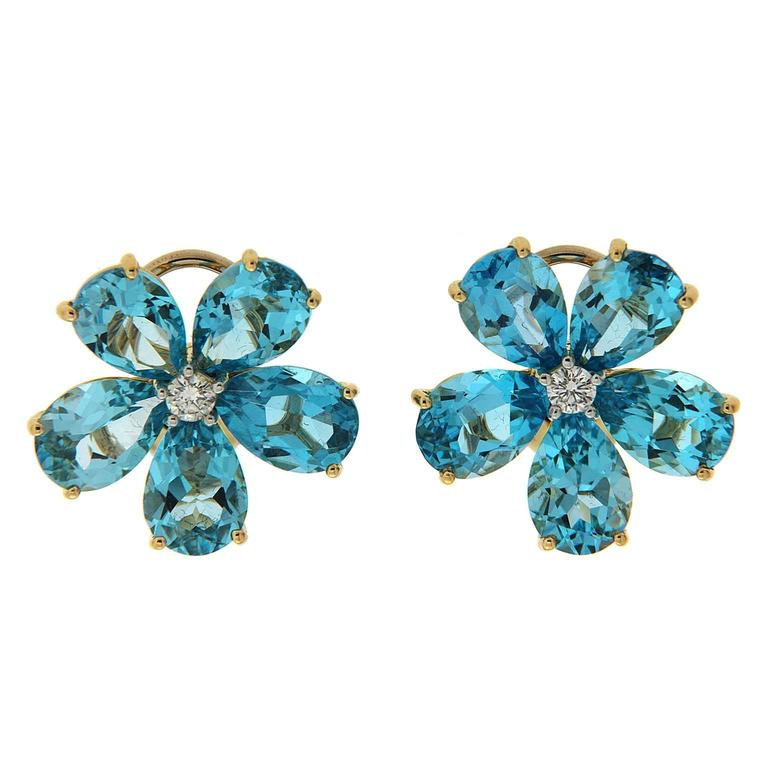 Pear Shape Swiss blue topaz Diamond gold Cluster earrings  1