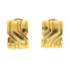 On The Town Gold Earrings with textured surface