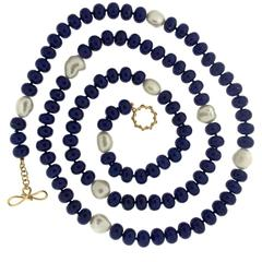 Lapis Pearl Gold Necklace