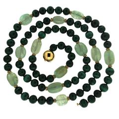Emerald Malachite Necklace with gold roundels
