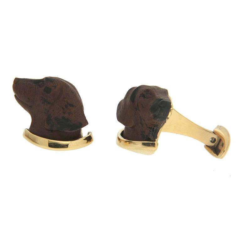 Valentin Magro Labrador Obsidian gold Cufflinks