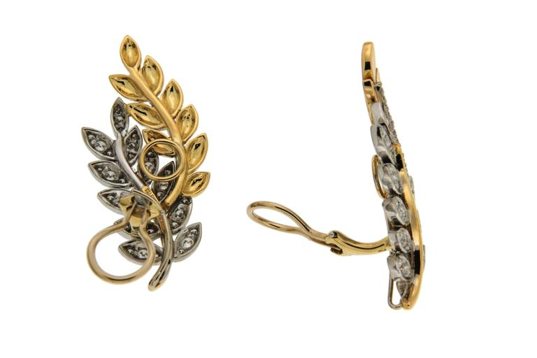 Olympia Diamond Gold Leaf Motif Earrings 2