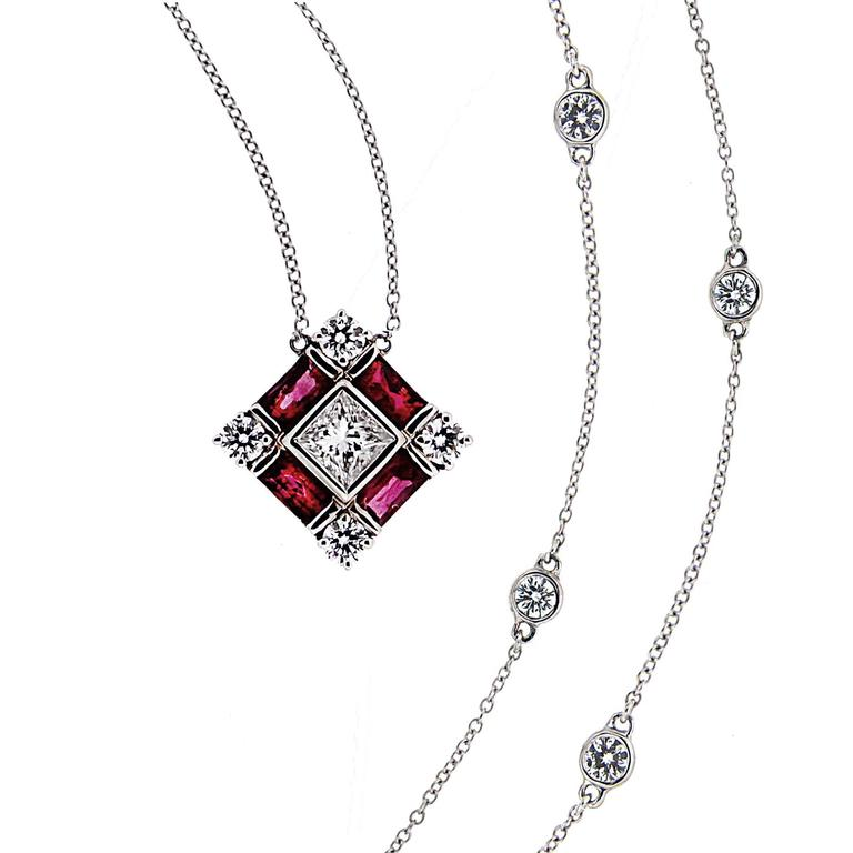 Baguette Ruby Princess Cut Diamond Gold Pendant Necklace For Sale