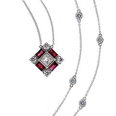 Baguette Ruby Princess Cut Diamond Gold Pendant Necklace