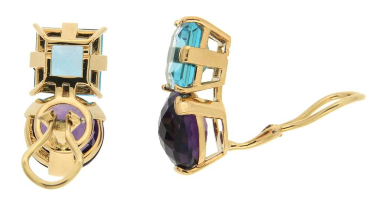 Square Blue Topaz Round Amethyst Gold Earrings 2