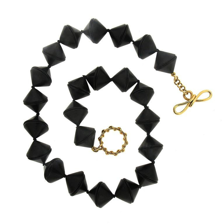 Valentin Magro Black Jet Cones Gold Necklace