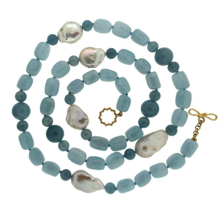 Aquamarine Fresh Water Pearl Necklace