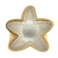 Crystal Mother of Pearl Gold Starfish Ring