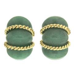 Green Aventurine Gold Shrimp Earrings