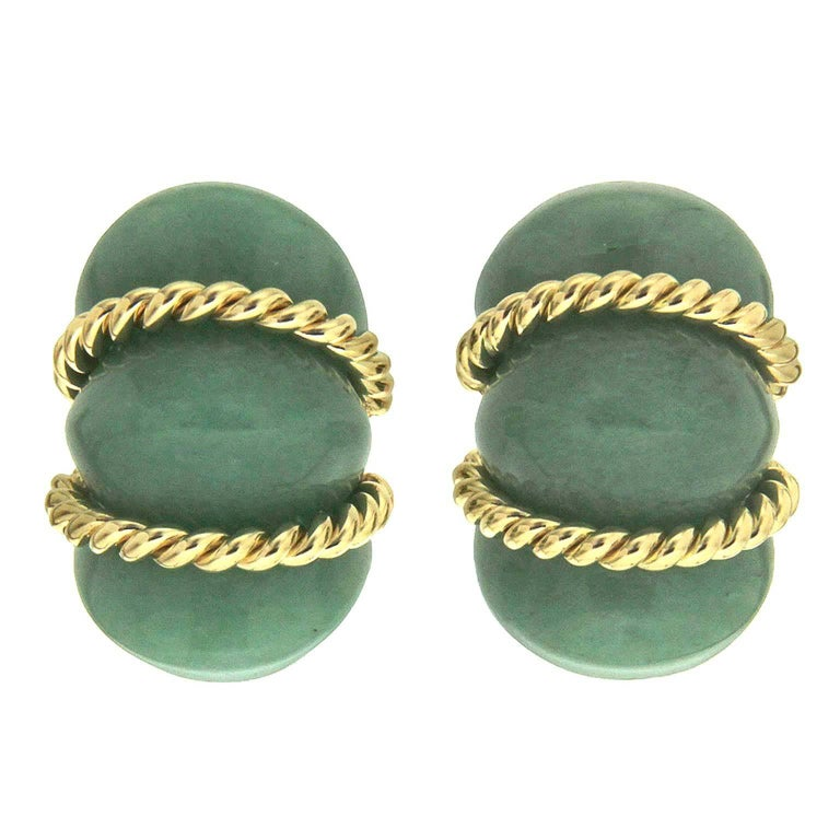 Green Aventurine Gold Shrimp Earrings