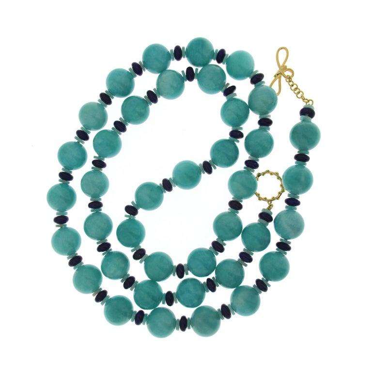 Amazonite Ball and Lapis Lazuli Roundels Necklace