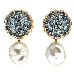 Aquamarine Pearl Gold Flower Bud Removable Earrings