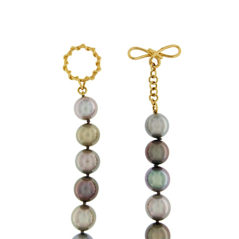 Women's Multicolor Tahitian Pearl Necklace  For Sale
