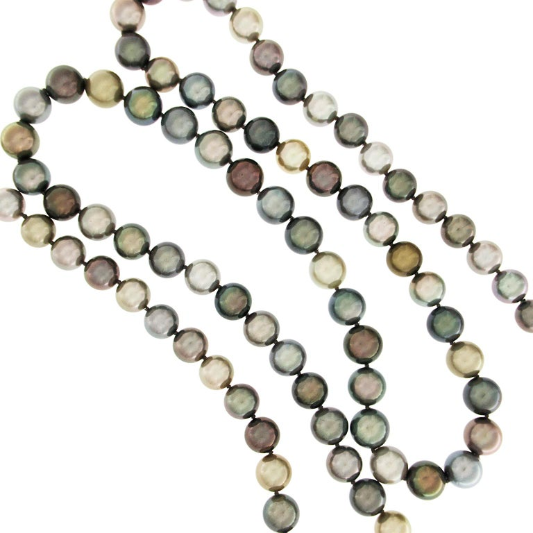 Multicolor Tahitian Pearl Necklace  In New Condition For Sale In New York, NY