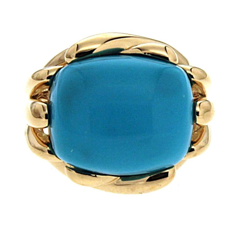Valentin Magro Fluted Criss Cross Cushion Turquoise Sleeping Beauty Ring In As new Condition For Sale In New York, NY