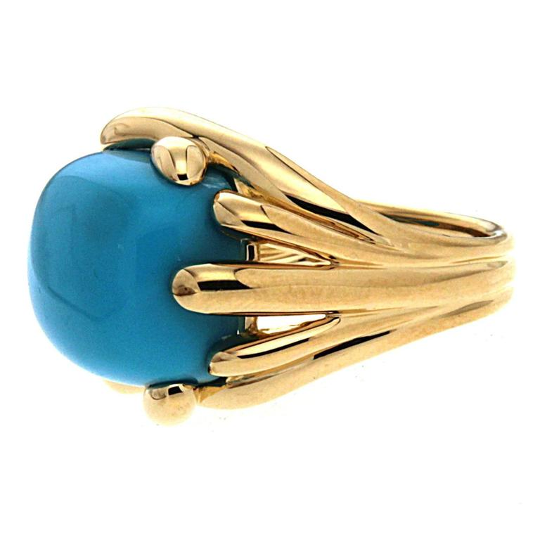 Fluted Criss Cross Cushion Turquoise Sleeping Beauty Ring 4