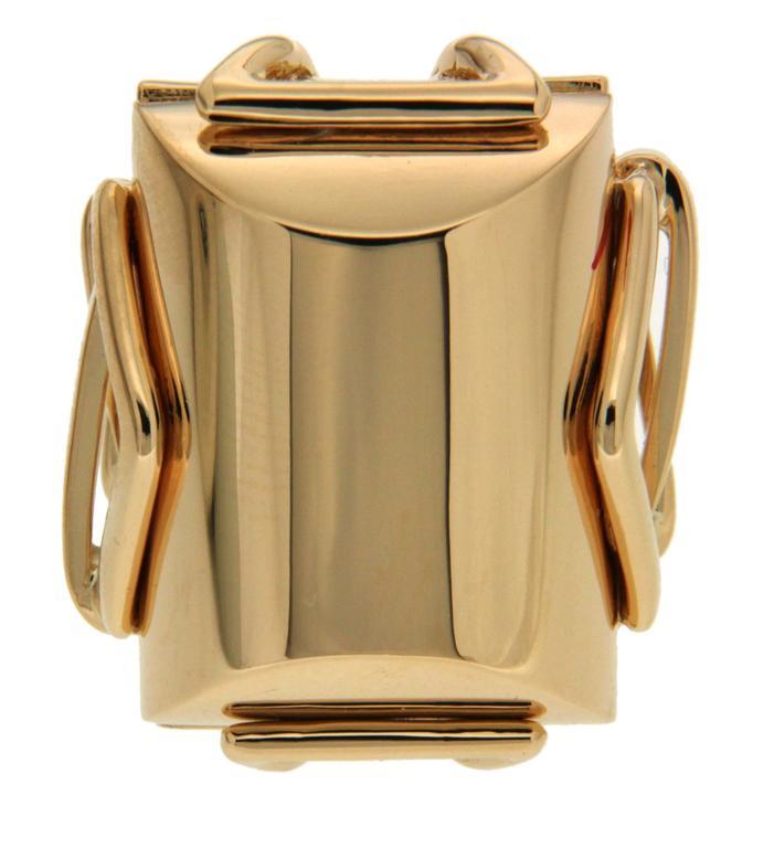 Large Rectangular Gold High Polish Trellis Ring 2