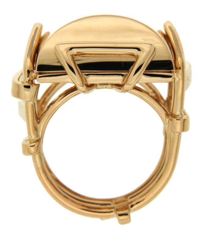 Large Rectangular Gold High Polish Trellis Ring 3