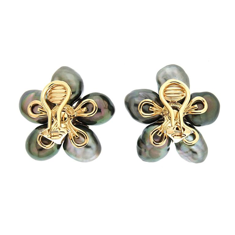 Tahitian Pearl Diamond Gold Cluster Clover Earrings 2