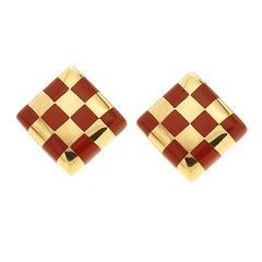 Checkerboard Jasper Inlay Gold Earrings