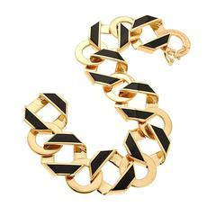 Reversible Fold over Small Black Enamel Link Bracelet