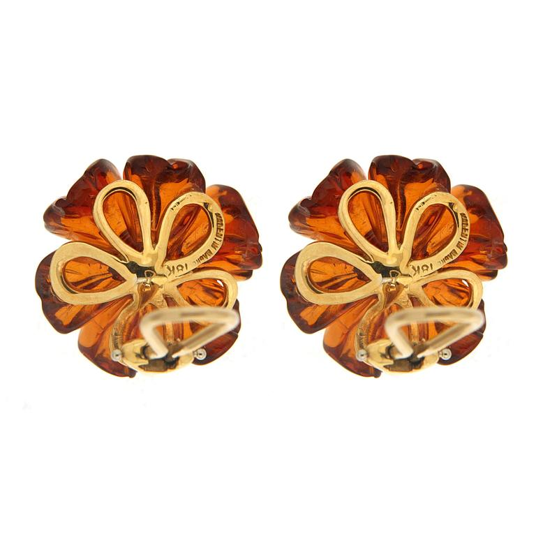 Sapphire Cabochon Amber Gold Flower Earrings 2