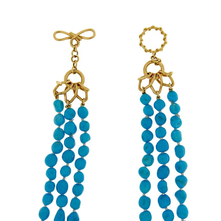 Women's Long Multi-Strand Turquoise Nuggets Necklace For Sale