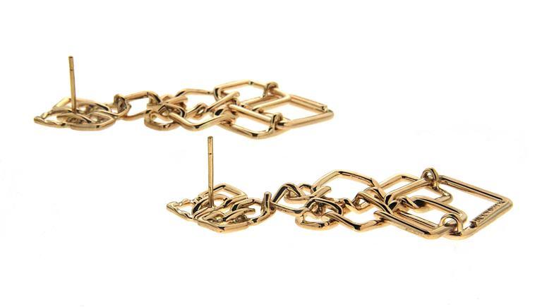 Valentin Magro Small Version Gold Cushion Link Interlocking Dangle Earrings 2