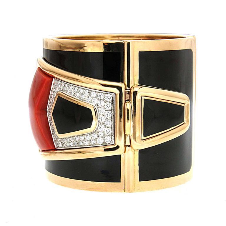 Special Cut Coral Black Enamel Diamond Gold Cuff Bracelet 2