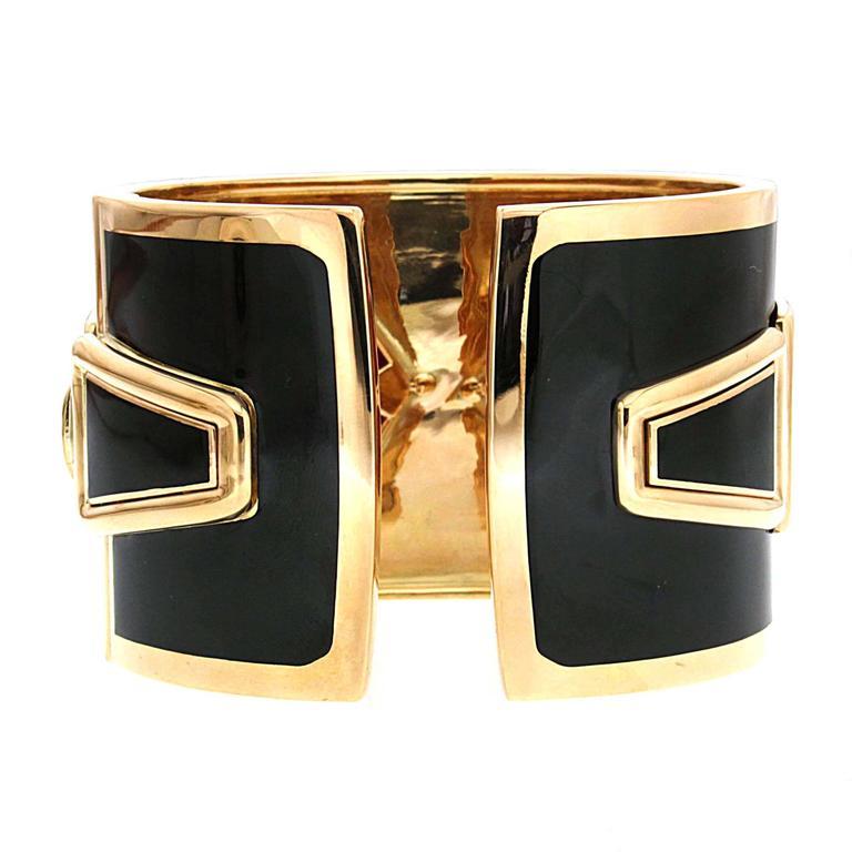 Special Cut Coral Black Enamel Diamond Gold Cuff Bracelet 3