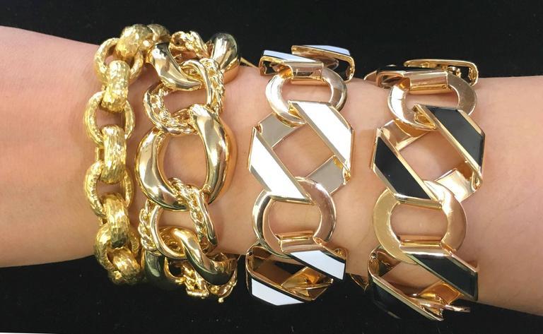 Black Enamel Gold Fold over Medium Reversible Link Bracelet 3